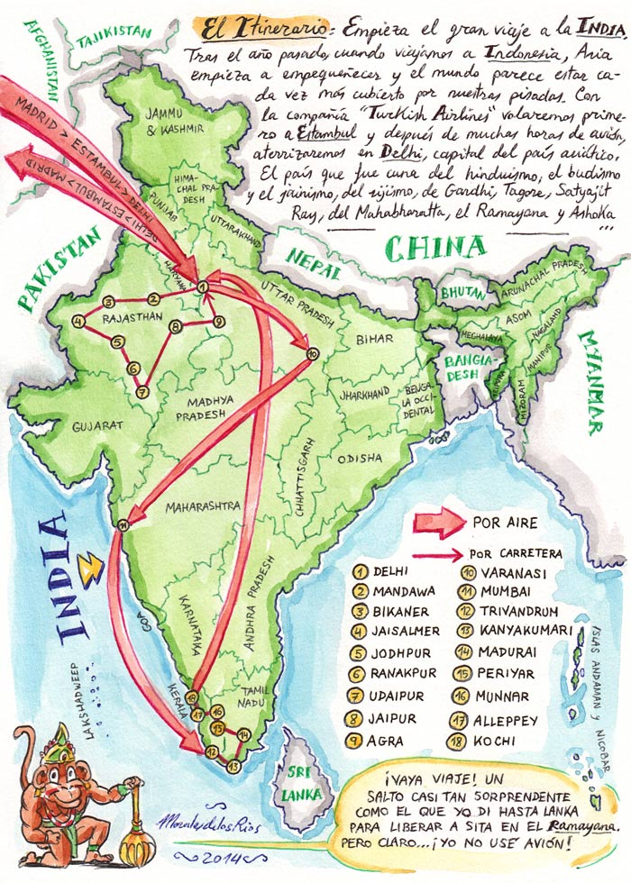 INDIA 2014 - Pág 002. El Itinerario