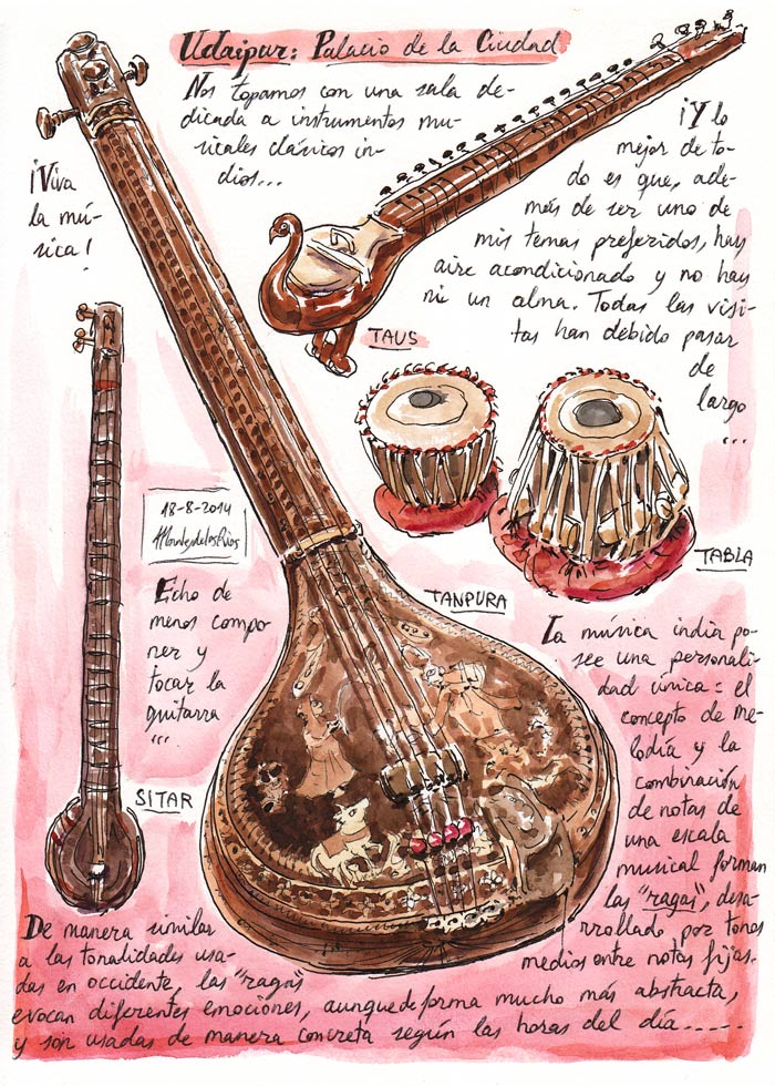 INDIA 2014 - Pág 051. UDAIPUR. Palacio de la Ciudad (Instrumentos musicales clásicos indios)