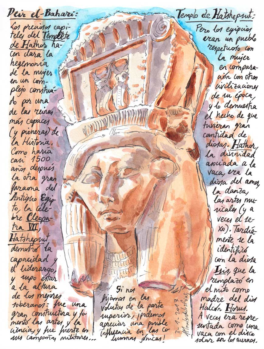 56. DEIR EL-BAHARI. Templo de Hatshepsut (Capiteles del Templete de Hathor)