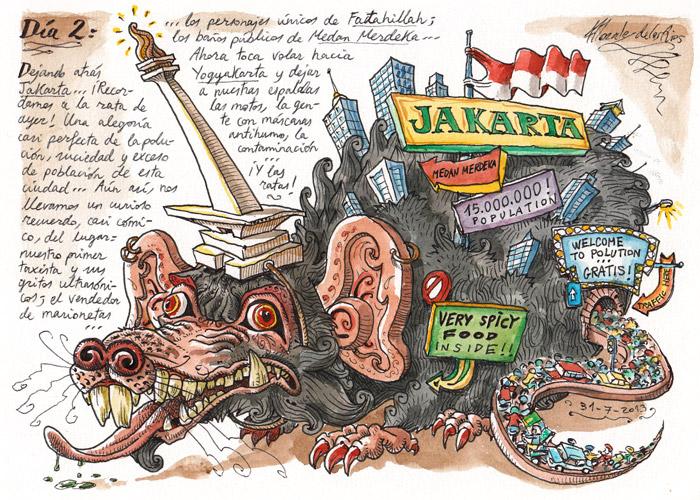 INDONESIA 2013 - Pág 013. JAKARTA. Dejando atrás Jakarta... ¡Recordamos a la rata de ayer!