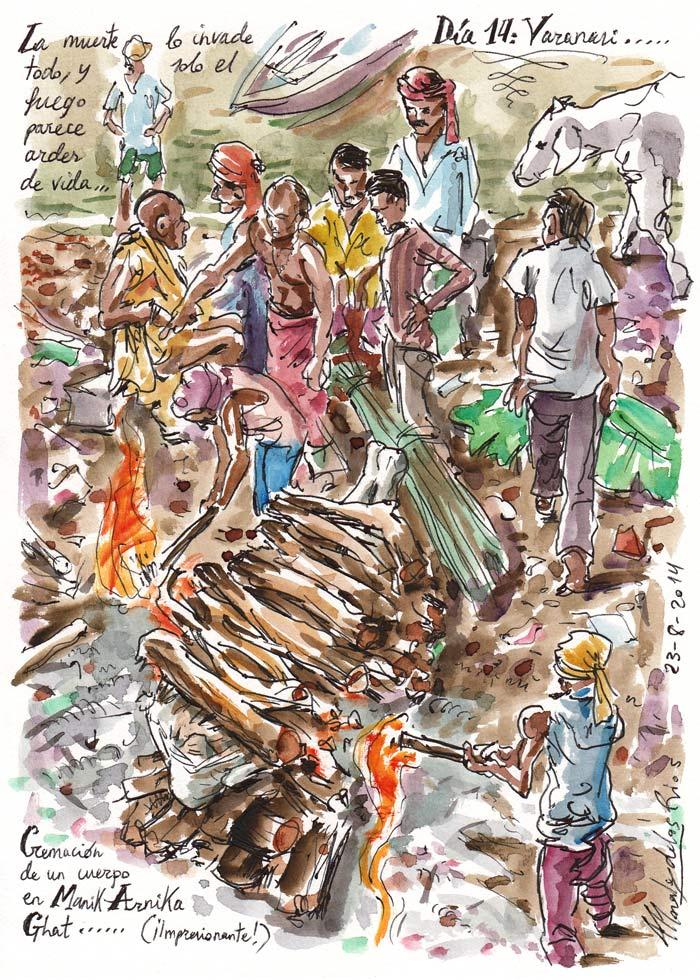 INDIA 2014 - Pág 072. VARANASI. Cremación de un cuerpo en Manik-Arnika Ghat (¡Impresionante!)
