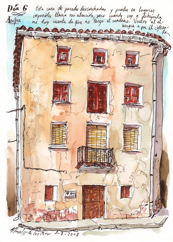 2008 - Camino de SANTIAGO - Pág 13. AZOFRA. Casa de paredes desconchadas y puertas en lugares imposibles