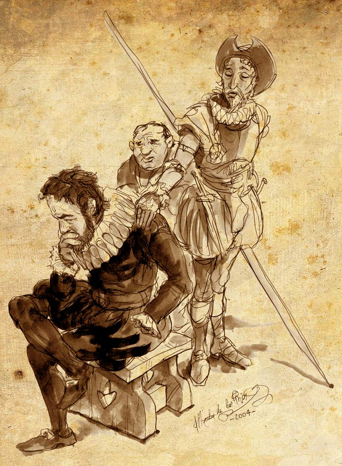 De cómo Cervantes fue a publicar su Don Quijote - Cervantes con Sancho y Don Quijote