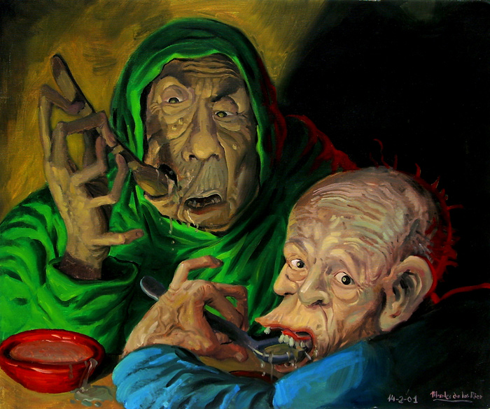 Dos viejos intentando comer sopa
