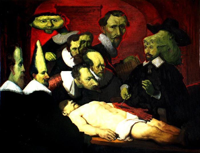 La lección de anatomía de los hombres con cabezas antianatómicas