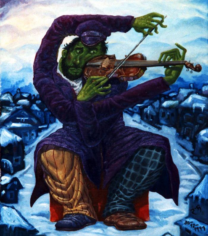 Violinista verde interpretando la Serenata Melancólica de Tchaikovsky